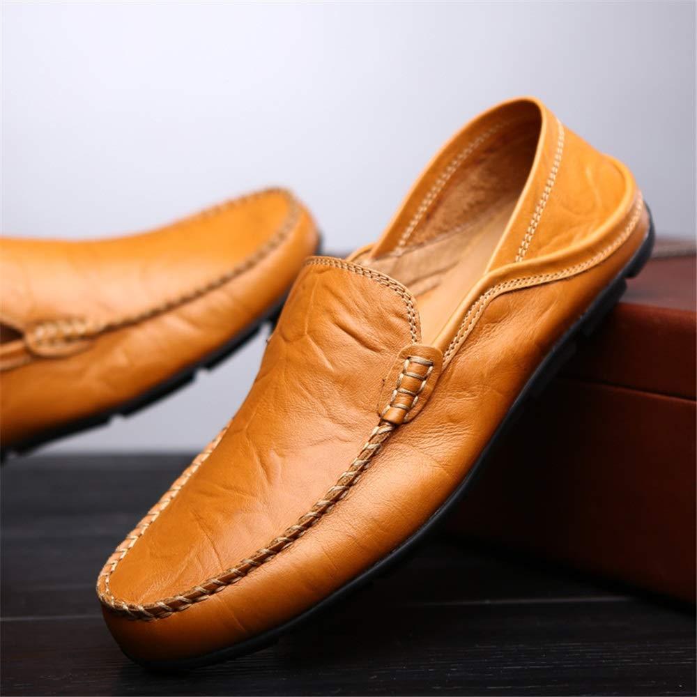 Qiusa Echtes Leder Casual Loafers Runde für Männer Klassische U-TIPP Runde Loafers Toe Blau Schwarz Braun Stiefelschuhe (Farbe : Schwarz, Größe : EU 43) Braun c20df7