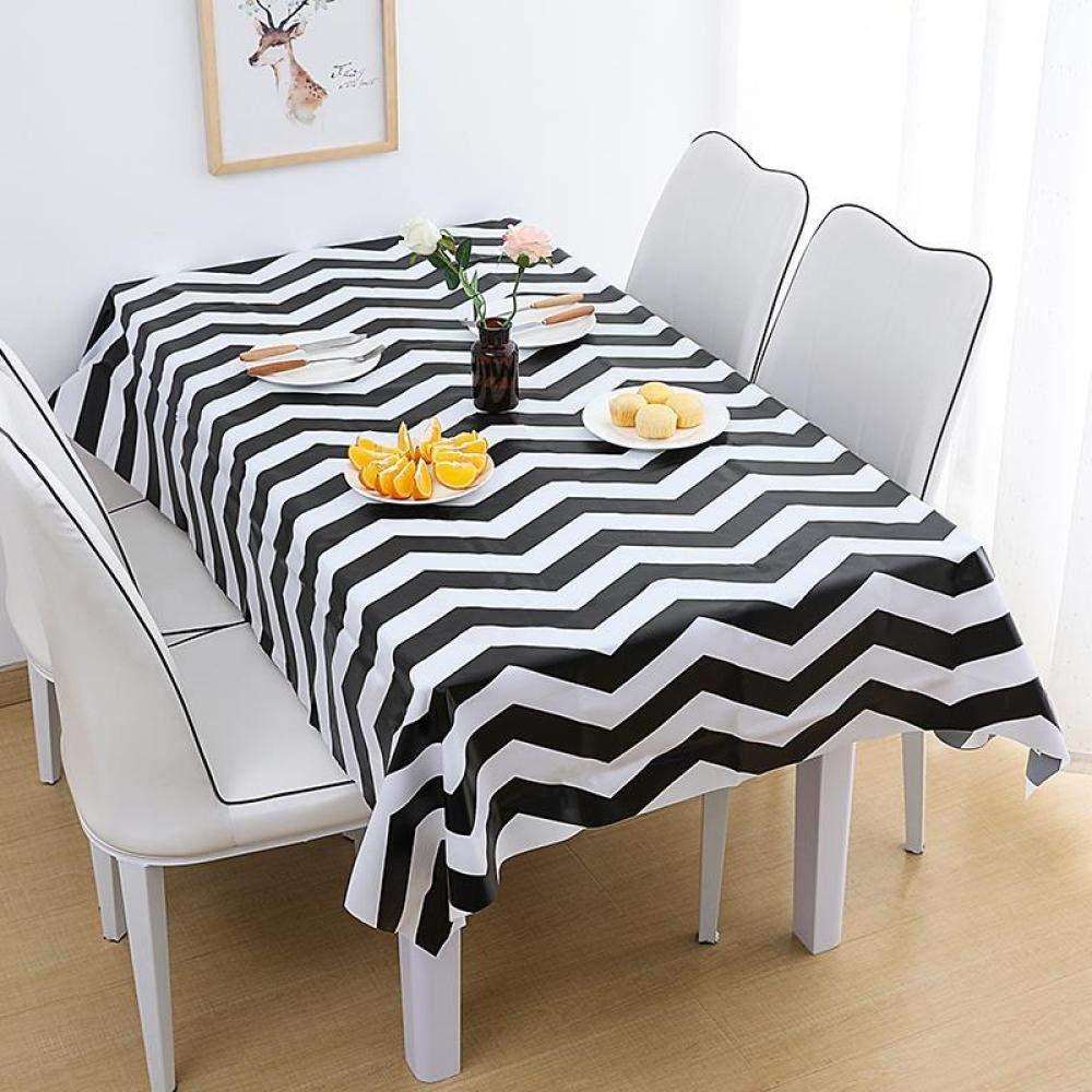 WJJYTX gartentischdecke eckig, Wasserdichter Tischdeckenstoff Heimtextilien für Partyhochzeit schwarz-weiß Streifen zweiteilig @ 90 * 137