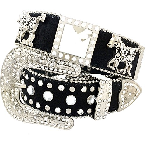 Western Peak Women's Horse Hair Square Horse and Concho Rhinestone Belt Black (M) by Western Peak