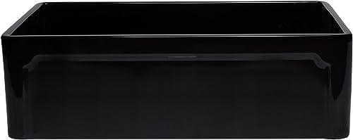 ALFI brand AB3320SB-BG 33 Reversible Single Fireclay Farmhouse Kitchen Sink, Black Gloss
