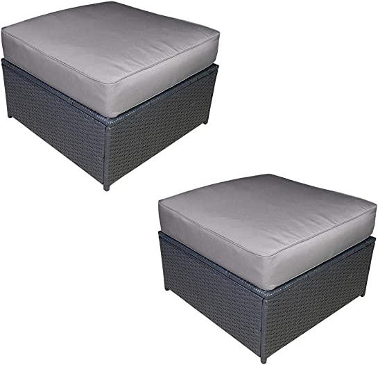 Mcombo Outdoor Patio Rattan Wicker Sofa Ottoman Couch Furniture Chair Garden Sectional Set with Gray Cushions 6085