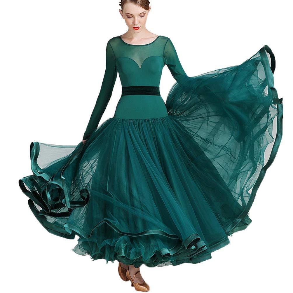 品質一番の 女性/女の子のための長袖の標準のダンスドレスメッシュステッチタンゴパフォーマンスダンスウェアシンプルなワルツモダン社交ダンス大会用ドレス B07QH5R4R5 XXL|グリーン グリーン B07QH5R4R5 グリーン XXL, ミサトチョウ:df2f6fcb --- a0267596.xsph.ru