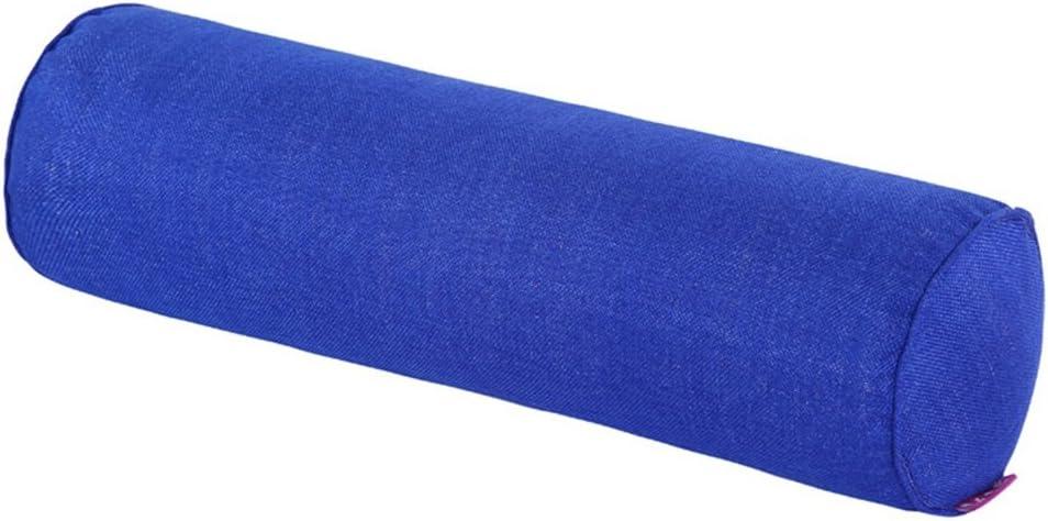Nunubee Lino Tinta Unita Cuscino cilindrico Cuscino Tubolare Cuscini di Gravidanza 20X80 CM Blu Scuro