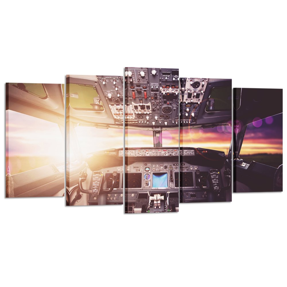 Kreative Arts - Large Canvas Wall Art Prints Airplane Interior Cockpit View Inside The Airliner Painting 5 Pieces Large Framed Canvas Art Sunny Skye Picture Artwork for Home Office Decoration by Kreative Arts