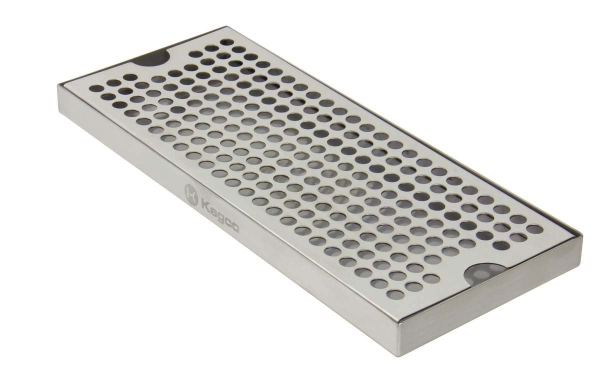 Kegco KC DP-125 Beer Drip Tray Surface No Drain Mount, 12'', Stainless Steel