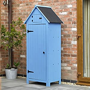 Kingfisher SHEDB Wooden Garden Shed, Blue, 178 x 77 x 51cm