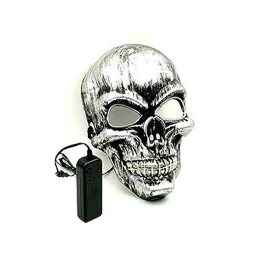Amazon.com: Nirco EL Light Up LED Mask Skull Mask EL Wire Halloween ...