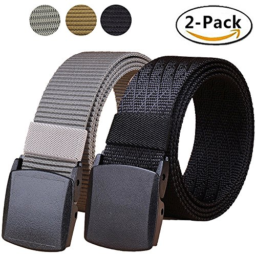 Short Belt - Hoanan Tactical Nylon Belt, 2 Pack Plastic Military Web Belt for Men Outdoor Sports(black/grey)