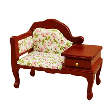 1/12 Dollhouse Miniature Wooden Floral Recliner With Drawer Doll House  Furniture Accessories