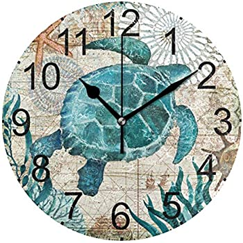 LUCASE LEMON ALEX Blue Sea Turtle Nautical Map Vintage Round Acrylic Wall Clock Non Ticking Silent Clocks for Home Decor Living Room Kitchen Bedroom Office School