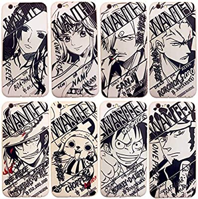 Amazon Com Black And White One Piece Character Luffy Zoro Nami Sanji Phone Case For Iphone X 8 7 6 6s Plus Xr Xs Max Soft Silicone Back Cover Op Manga Fan Case