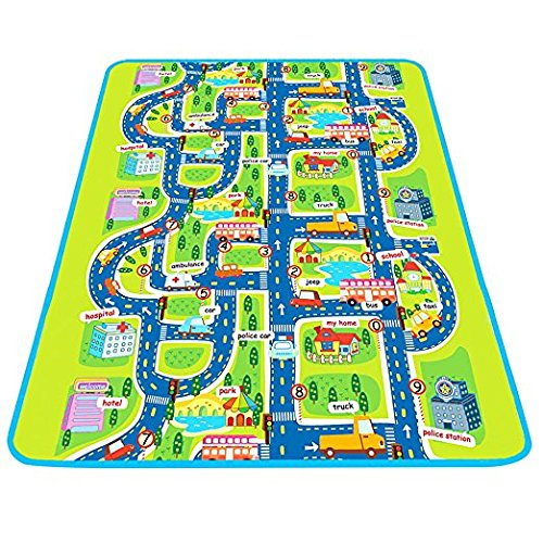 Baby Creeping & Pretend Play Mat, Large Protective Learning Foam Floor Gym, Waterproof Ground Activity Playmat for Infant, Toddlers, Kids. Car Track Road Design With City Town Map - iPlay, iLearn (Play Baby Mat Travel)