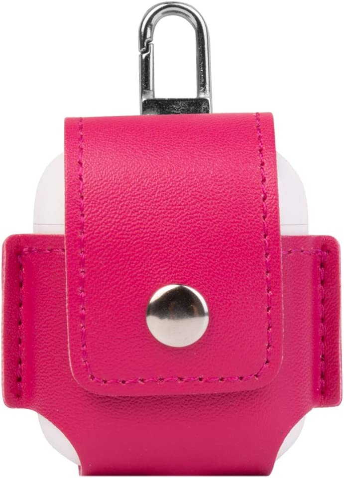 SumacLife Drop Proof Vegan Leather Protective Pouch Pocket with Carbiner Other for Apple Airpod - Magenta Pink