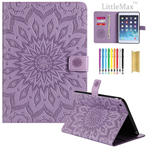 iPad Mini 1/2/3 Embossed PU Leather Case, LittleMax(TM) Lightweight Auto Wake/Sleep Flip Stand Case [Card Slots] Smart Shell Magnetic Closure Cover for Apple iPad Mini 3/ 2/ 1 - #2 Purple