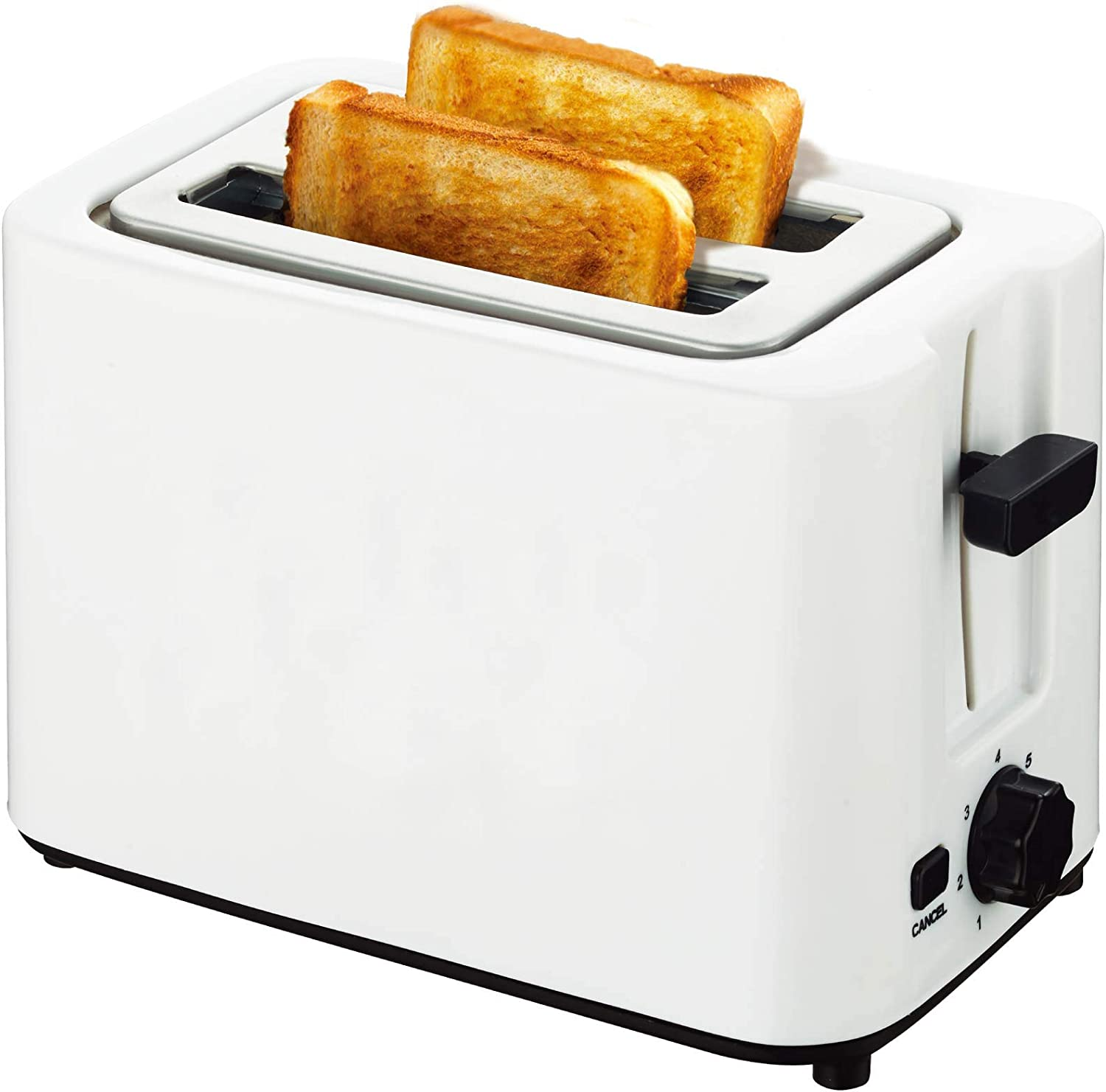 2-Slice Toaster, Extra-Wide Slot, Cool White Toaster With Cancel Function, 2-slice Toaster and Removable Crumb Tray