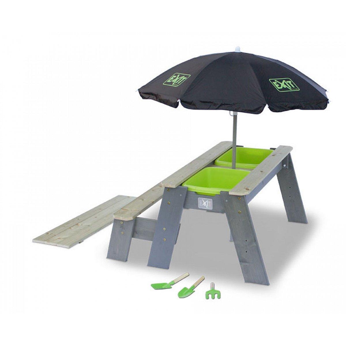 EXIT Aksent Sand- und Wasser- und Picknicktisch L mit Parasol und Schaufelln (1 Bank)