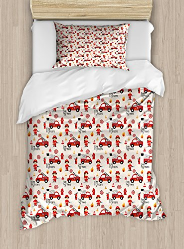 Twin Size Duvet Cover Set, Little Boys and Girls in Uniforms Fire Fighters Theme Career Profession Pattern, Decorative 2 Piece Bedding Set with 1 Pillow Sham, Multicolor ()