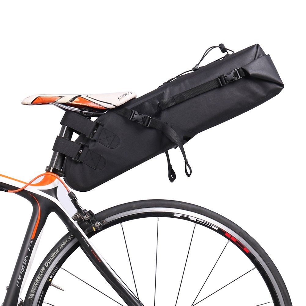 Waterfly Bike Saddle Bag Extended Long Bike Rear Bag Seat Pack Tail Bag 10L for Cycling Bicycle Mountain Road Bike