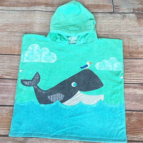 Kids Hooded Poncho Towels Cute Dolphin Beach Pool Bath Towel for Girls&Boys 100% Cotton 300 GSM by Bavilk