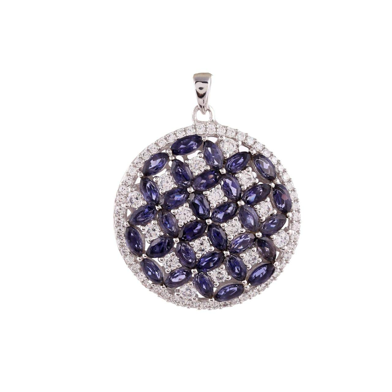 NYSHA JEWELS 925 Sterling Silver Natural Blue Iolite Marquise Shape Pendant for Women Girls