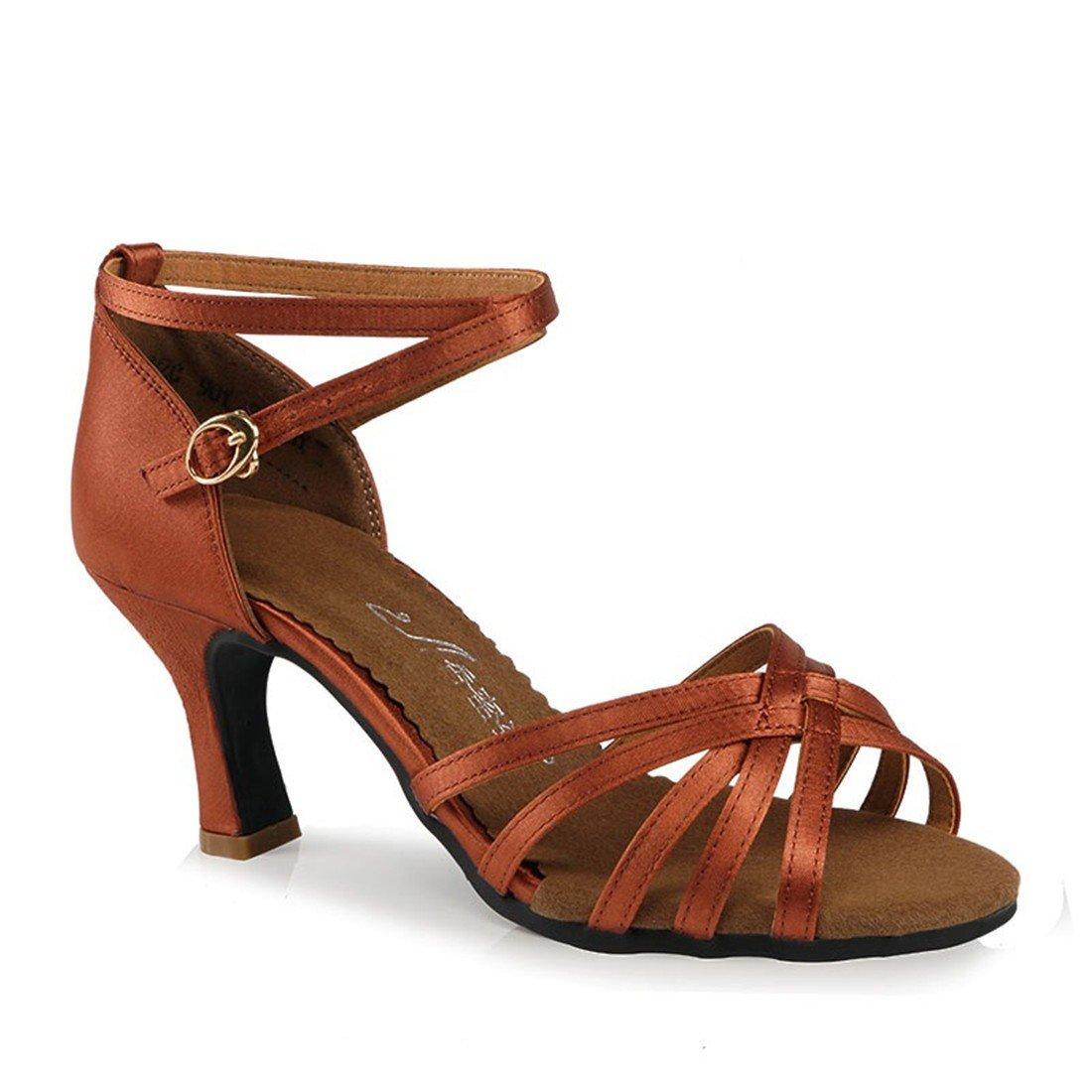 WXMDDN Chaussures de Danse Latine Chaussures de Danse de Couleur Sombre, des profils 7cm Soft Bas Chaussures de Danse Danse Débutants Pratique Outdoor Chaussures Pour Femmes