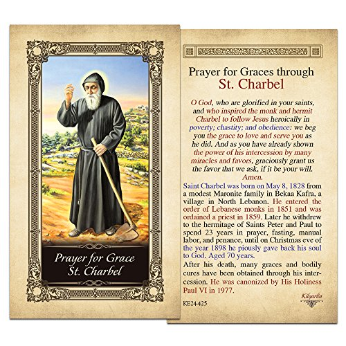 Grace St. Charbel Laminated Holy Card - Pack of 3
