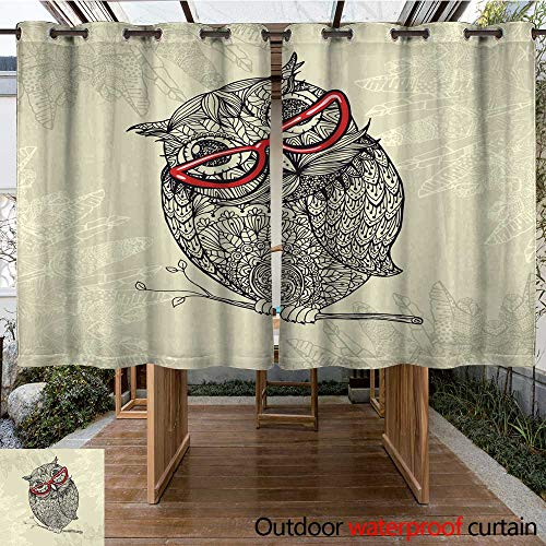 - RenteriaDecor Outdoor Balcony Privacy Curtain Doodle Style owl in red Eyeglasses W96 x L72