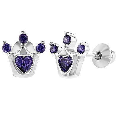 ab72a8dfe45f In Season Jewelry - 925 Plata de Ley Circonita Morada Corona de Princesa  Aretes con Cierre de Rosca para Niñas  Amazon.es  Joyería