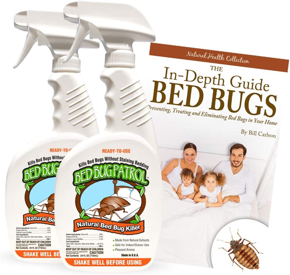 Bed Bug Patrol Bed Bug Killer Spray Treatment 24oz (2-Pack) Kills Bed Bugs on Contact with Residual Protection, Natural & Non-Toxic, Child & Pet Safe. Recommended for Home, Mattresses & Furniture.
