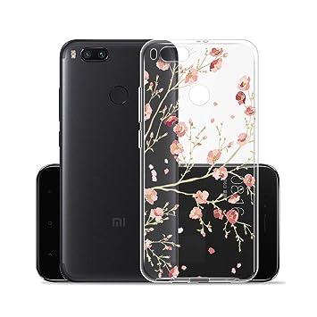 Para Xiaomi Mi 5X / Xiaomi Mi A1 Carcasa , YIGA Moda Flores De Color Rosa Transparente TPU Gel Cubierta De Silicona Suave Funda Tapa Case Cover para ...