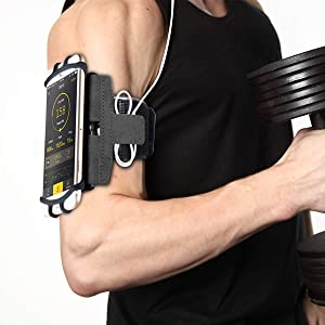 [Upgrade 2019] Sports Running Armband for iPhone X XR XS Max 8 Plus 7 Plus 6, Samsung Galaxy A8 S9 S8 S6 Edge, LG, HTC, Pixel; 180° Rotatable Cell Phone Holder for Men & Women + Free Extender Strap