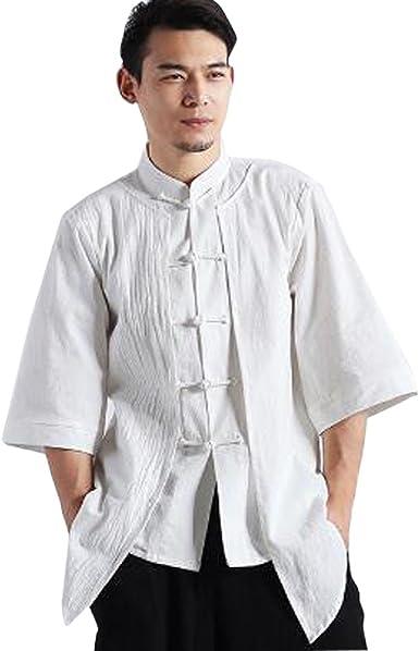 Camisa De Lino Blanca del Estilo Chino del Vintage De Los Hombres: Amazon.es: Ropa y accesorios