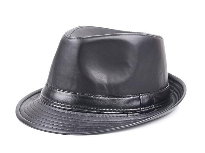 e90c42c58 Men Women Classic PU Leather Fedora Trilby Gangster Gentleman Hat ...