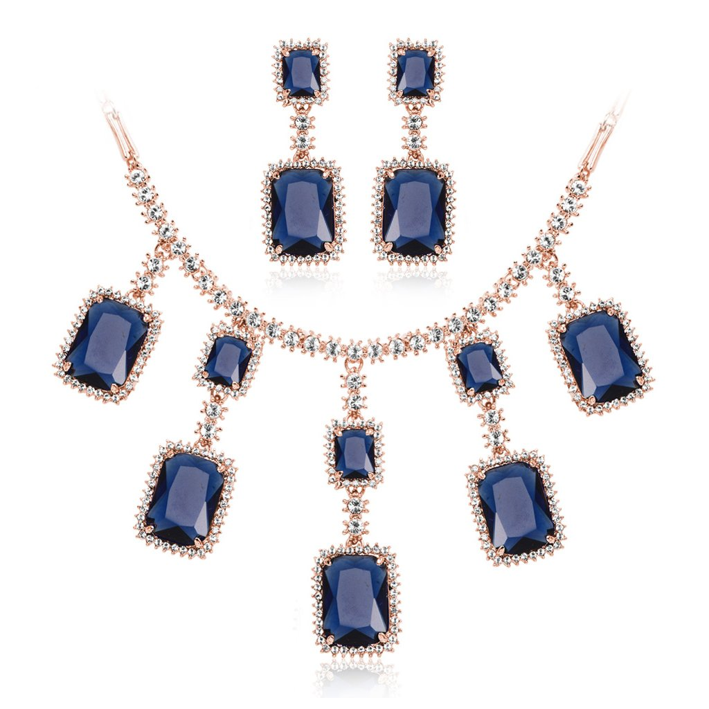 IUHA Cubic Zirconia Moonlight Lover Eye-catching Statement Necklance and Earrings Luxury Jewelry Sets Party Gift