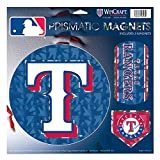 """Texas Rangers MLB Prismatic 3 Different Die Cut Magnets On Single 11"""" x 11"""" Sheet Magnet"""
