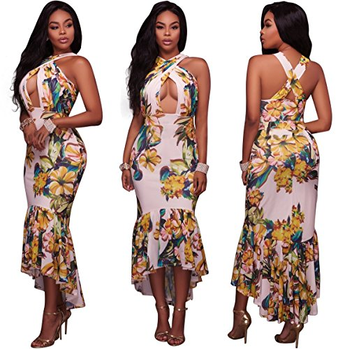 Bodycon Blansdi Cross Chest Open Flower Halter Clubwear Neck Print Maxi Fishtail White Dress Women r8w5qr