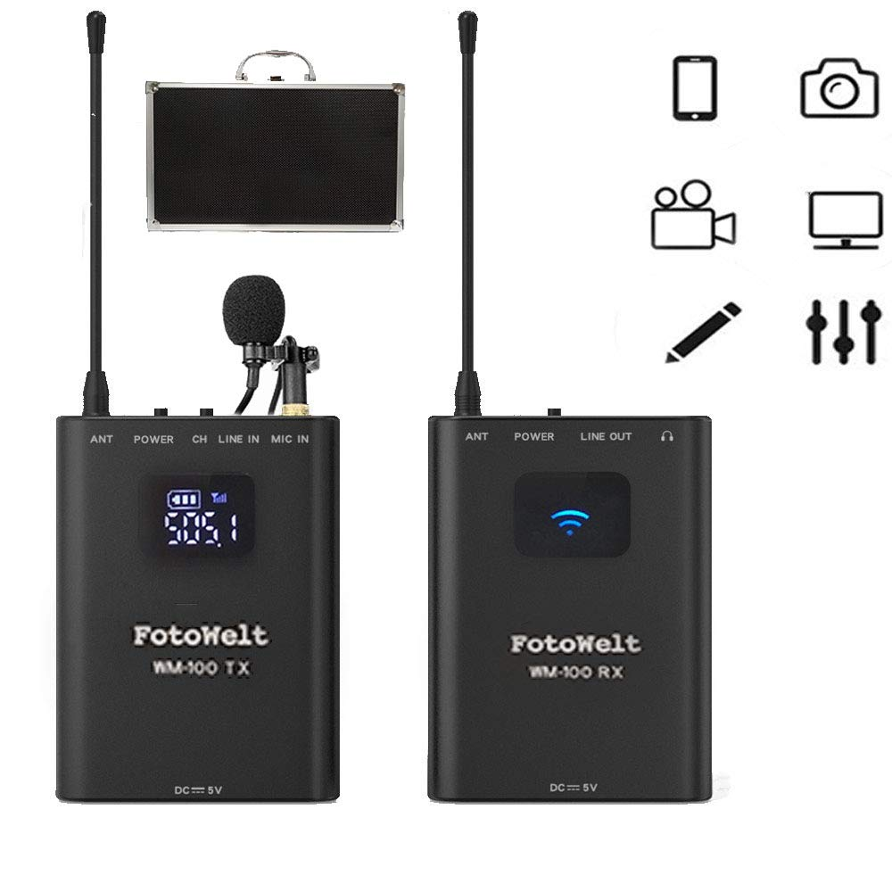 Fotowelt WM100 Full Metal 4 Channels UHF Professional Wireless Lavalier Microphone System Compatible for Canon Nikon Sony Panasonic D/SLR Camera,XLR camcorder & Smartphone (50m-164foot) by fotowelt