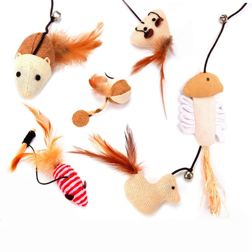 Fish WFZ17 Cat Kitten Teaser Play Wand with Feather Wood Rod Interactive Funny Pet Toy