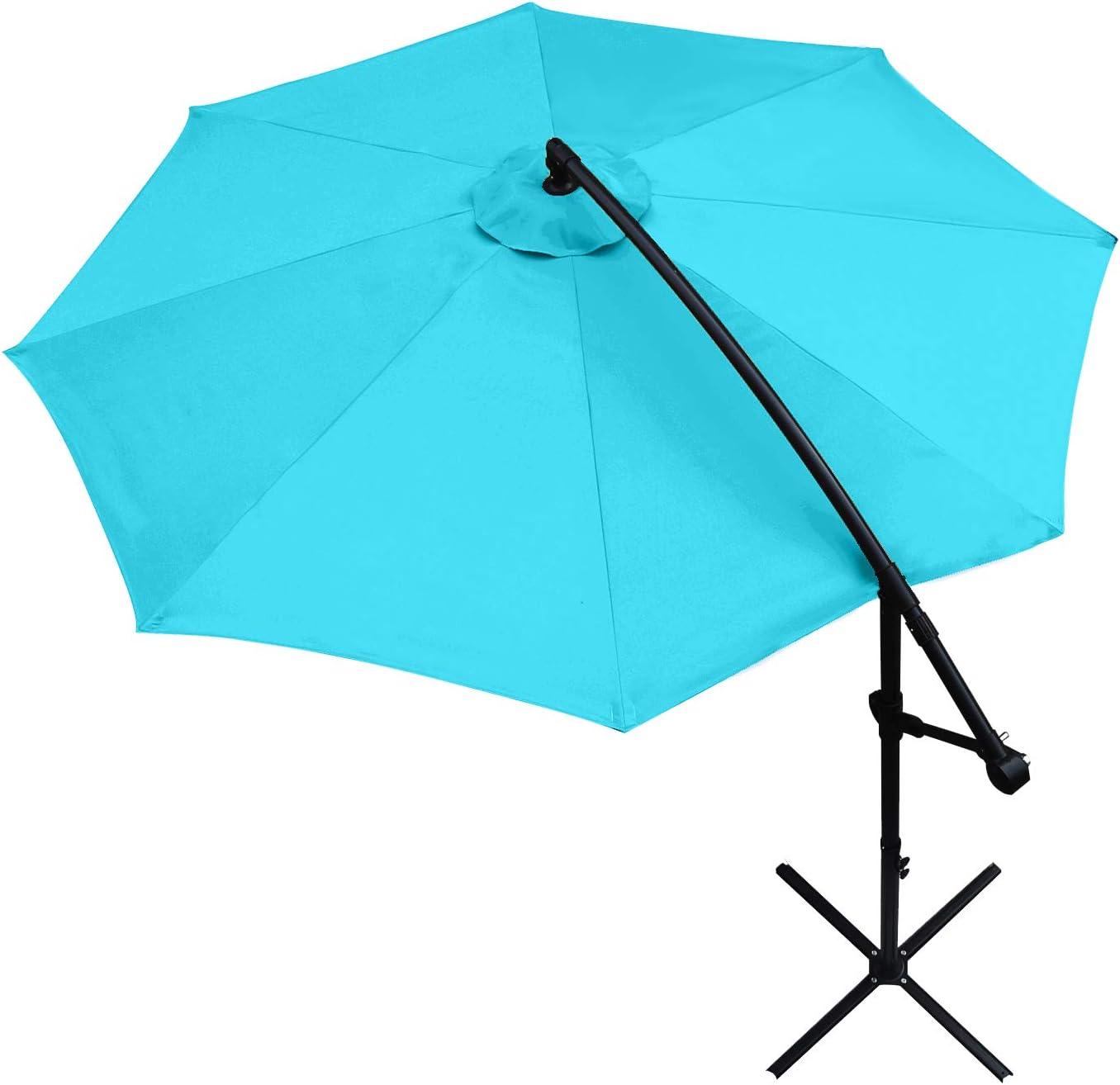 ABCCANOPY Patio Umbrellas 10 FT Outdoor Market Umbrella Cantilever Umbrella Offset Hanging Umbrellas with Crank & Cross Base, 13+ Colors,(Turquoise)