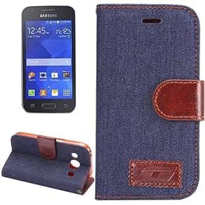 Denim Cloth Leather Funda Holder Case and Cover con bolsillos internos para Samsung Galaxy Ace/Style LTE G357FZ (Black)