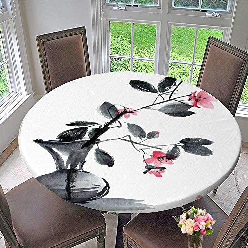 (PINAFORE HOME Round Table Tablecloth and Ink of Sakura Flowers and Leaves in vase for Wedding Restaurant Party 67