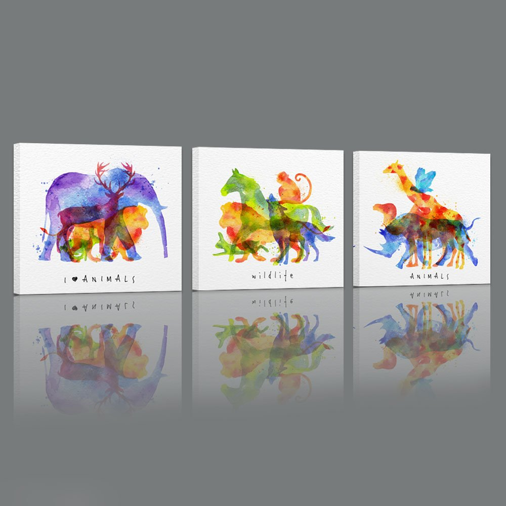 Visual Art Decor Abstract Animals Canvas Wall Art Elephant Deer Giraffe Monkey Lion Wall Decal Art Dual Image Painting Prints Decor for Bedroom Gift for Kids by Visual Art