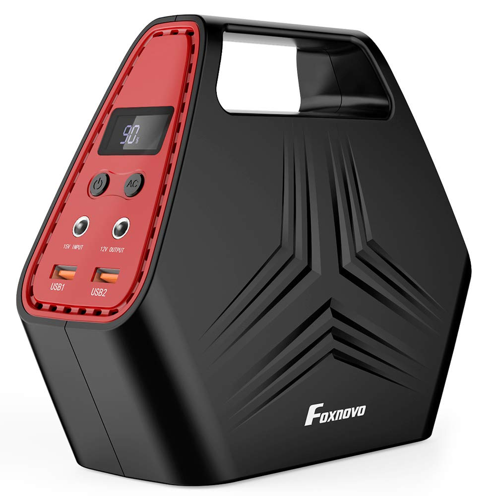 Foxnovo Portable Generator Power Station 150W 40000mA Battery Backup for Home Travel Camping Emergency, Charged by Wall Outlet/Solar Panel/Car, with 2 120V AC Outlets, 2 5V USB Outputs, 12V DC Output