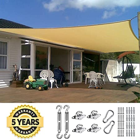 Quictent 26 X 20 ft 185G HDPE Rectangle Sun Shade Sail Canopy 98 UV Block Outdoor Patio Garden with Free Hardware Kit Sand