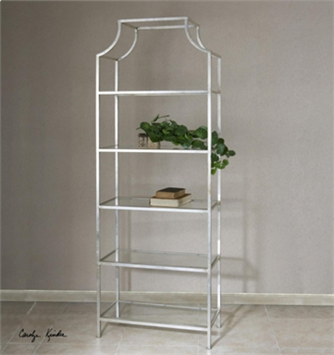 84'' Silver Leafed Iron 5-Tier Tempered Glass Etagere Display Shelf