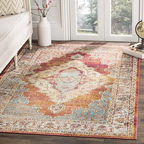 Safavieh Crystal Collection CRS500A Orange and Light Blue Distressed Medallion Area Rug 5' x 8'