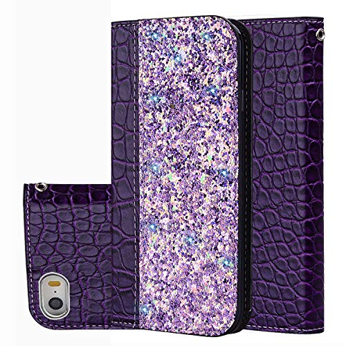 Black Friday Cyber Monday Deals-iPhone SE Wallet Case,iPhone 5S Cover [Bling Glitter Shiny] Leather Flip Folio Case Kickstand Credit Card/ID Slots for iPhone SE/5S/5 (Purple-iPhone SE/5S/5)]()