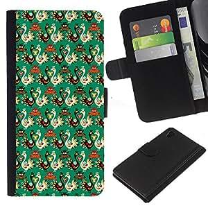 Planetar® Modelo colorido cuero carpeta tirón caso cubierta piel Holster Funda protección Para Sony Xperia Z4 / Sony Xperia Z4V / E6508 ( Fondo de pantalla de aves Estilo rusa Patrón de arte )