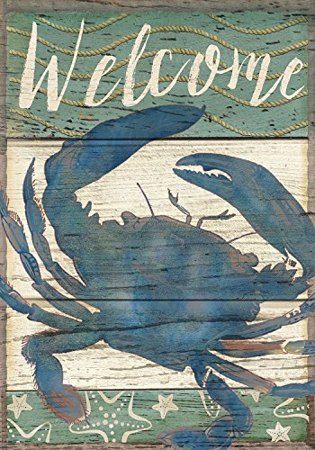 [Welcome Crab Summer House Flag Nautical 28