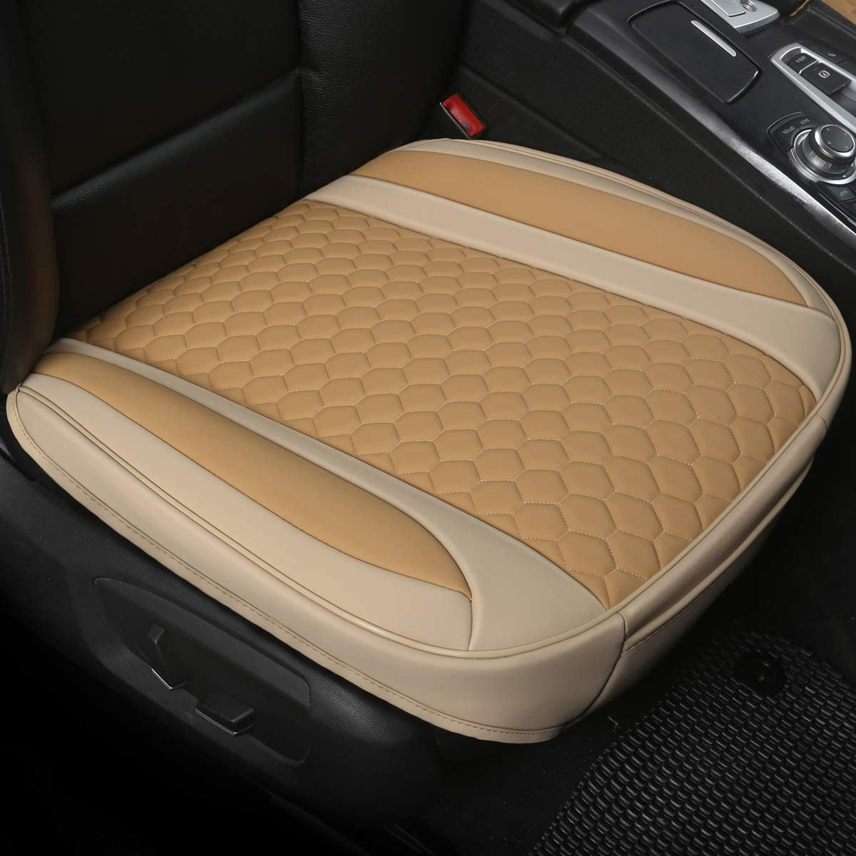 21.26/×20.86 Inches Black Panther 1 Pair Luxury PU Leather Car Seat Covesr for Front Seats Bottom ,Compatible with 90/% Vehicles Mixed Beige